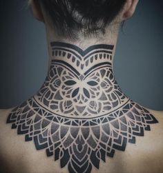 Pin by stefennie jagt on 2018 pins 2 Tattoo Nape, Sternum Tattoo, Diy Tattoo, Tattoo Blog, Geometric Throat Tattoo, Body Art Tattoos, Sleeve Tattoos, Tatoos, Independent Tattoo