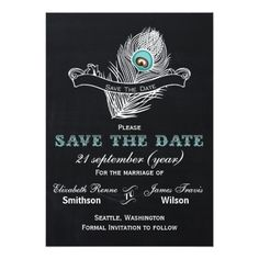 Peacock Wedding Save the Date Cards Vintage Chalkboard peacock save the date Card