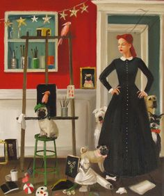 Miss Moon Was A Dog Governess.  Lesson Eleven:  A Tidy Space Is A Welcoming Place. by janethillstudio on Etsy