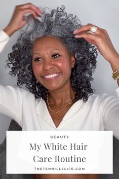 My Latest Silver + Gray Hair Care Routine for Natural Hair #beauty #hair #naturalhair #selfcare #lifestyle Grey Hair Care, Grey Curly Hair, Fine Curly Hair, Colored Curly Hair, Curly Hair Tips, Curly Hair Styles, Natural Hair Styles, Gray Hair, Natural Curls