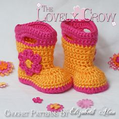 Booties Crochet Pattern Baby Rainboots  for Baby Goshalosh Boots -  4 sizes - Newborn to 12 months.. $5.95, via Etsy.