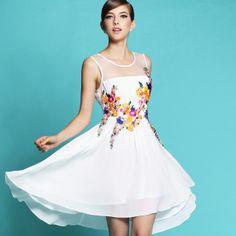 Western Embroidery Sleeveless Chiffon Flower Dress White