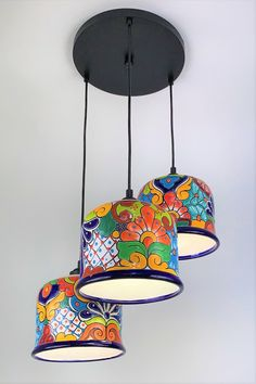 Mexican Talavera flower pots transformed into beautiful Talavera Pottery, Ceramic Pottery, Flower Planters, Flower Pots, Pot Lights, Mexican Designs, Mexican Artists, Old World Style, Pendant Light Fixtures