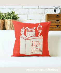 """Kitty Cat   decorative throw pillow cover   $15 45x45cm 18""""x18"""""""