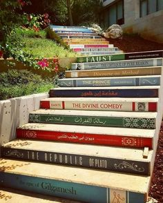 Home decor ideas for all the book lovers yes please! The incredible staircase of knowledge is located at the University of Balamland Lebanon. Have you ready any of these books? This amazing photo was taken by Book Stairs, Epic Of Gilgamesh, Stairway To Heaven, Public Art, Stairways, Book Lovers, Book Worms, Book Art, House Design