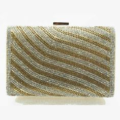 Tigerstars l $32.00 New Silver Gold Rhinestone Hardframe Evening Case Purse Clutch Handbag