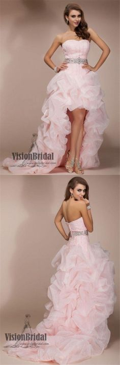 Princess Pink Sweetheart Open Back High Low Prom Dress With Ruffles, Charming And Lovely Prom Dress With Beaded, VB0405 #promdress #promdresses #highlow