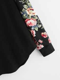 Floral Raglan Sleeve Curved Hem Top -SheIn(Sheinside)