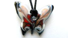 Papillon - Black, White&Red – Art&Craft Made In Europe - Butterfly Necklace for Woman, Fashion, Chic and Unique Jewelry !