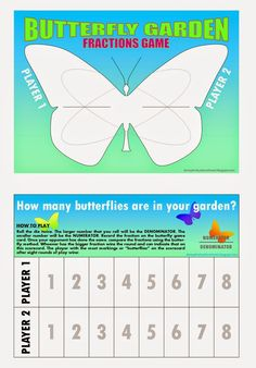 Relentlessly Fun, Deceptively Educational: Butterfly Garden (a Comparing Fractions Game)