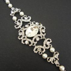Victorian Style Wedding Bridal Bracelet, Rhinestone Wedding Bracelet, Vintage Bridal Cuff Bracelet, Bridal Wedding Jewelry, Guinevere NEW. $82.00, via Etsy.