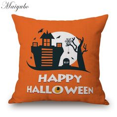 Maiyubo Halloween Witch Party Cushion Cover Chair Bed Seat  Bright Pillow Case Halloween Fashion Spoof Gift Pillow Cover PC266 #Affiliate