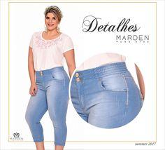 Cropped jeans com cós de elástico - plus size