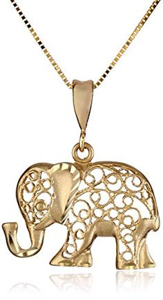 "14k Yellow Gold D-Cut Elephant Pendant Necklace, 18"" Amazon Curated Collection http://www.amazon.com/dp/B00CC88NM0/ref=cm_sw_r_pi_dp_Mcrrub1VQ2P75"