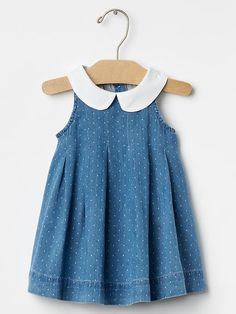 1969 round collar chambray dress from GAP Baby Girl Romper, Little Girl Dresses, Girls Dresses, Romper Dress, Dress Clothes, Baby Dress Patterns, Trendy Baby Clothes, Frocks For Girls, Chambray Dress
