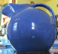 Originally Marketed in Woolworth stores beginning in the 1930's ~  Vintage Homer Laughlin Harlequin Mauve Medium Blue Retro Ball Pitcher Fiesta HLC