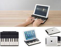iPadに装着してノートPCのように使うキーボードカバーが人気だ。Miseluの「C.24」は似てるようでちょっと違う。キーボードはキーボードでも音楽キーボードなのだ。 Music Keyboard, Nintendo Consoles, Products, Gadget