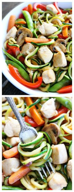 Easy Chicken Zucchini Noodle Stir Fry Recipe on twopeasandtheirpod.com You can have this healthy stir fry on your dinner table in 30 minutes! It is one of our favorite weeknight meals!