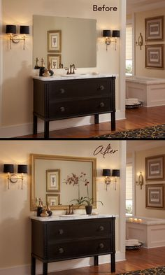 DIY Bathroom Makeover on a Budget - Mirror Goes From Builder Grade to Beautiful with a MirrorMate frame in just Minutes. www.mirrormate.com #DIY #Bathroom