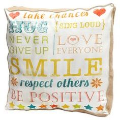 """Cotton canvas pillow with a typographic motif.  Product: PillowConstruction Material: Canvas, cotton and burlap coverColor: Ivory and multiFeatures:  Insert includedReverses to canvas backDimensions: 20"""" x 20"""""""