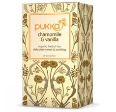 A delicate, soothing organic herbal tea – 100% caffeine free. The finest, organic chamomile flowers have been selected to create this beautiful mellow tea, given a subtle twist by adding delicious sweet vanilla pods. www.pukkaherbs.com