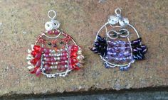 Madam Firebird Hoot and little Miss lavender Hoot owl's.