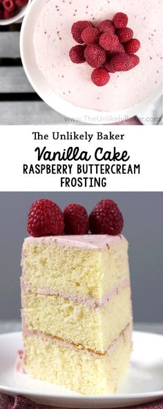 Soft, light vanilla cake frosted with delicious raspberry buttercream. Need a cake to welcome spring? This vanilla cake with raspberry frosting is it! via @unlikelybaker