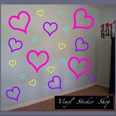 Heart Hearts OutlinedVinyl Wall Decal by TheVinylStickerShop