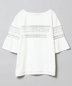 JEANASIS(ジーナシス)のラインレースプルオーバーSS/726969 (Tシャツ/カットソー)|ホワイト