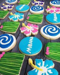 This set was for a Moana themed 2nd birthday party today. We Moana in our house so I had fun with this order and my kids loved seeing it all come together. Happy 2nd birthday, sweet Sophia!! #cakemeaway #cakemeawayfresno #moanatheme #moanaparty #2ndbirthday #birthdaycookies #moana #moanacookies #grassskirts #hibiscusflower #customcookies #cookieart #cookiestyle #cookieart #cookiedecorating #cookies #royalicingcookies #royalicing #cookiesofinstagram #instacookies #bakedwithlove #handm...