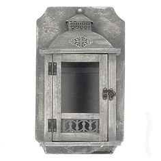 WOODEN/METAL WALL LANTERN IN GREY COLOR 21X10X35