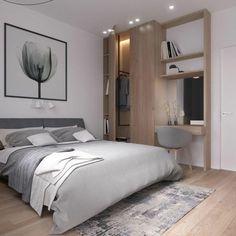 tapis patchwork gris, peinture gris et blanc, armoire avec bureau, chaise scandinave grise et spots encastrés