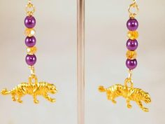 Tiger Earrings Pearls Glass Charm Dangling Beaded by CKDesignsUS, $9.00