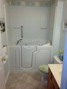 A Safe Step walk in tub is a safe alternative to standard tubs for those with limited mobility. Safety features like wall mounted grab bars and an anti-slip floor and seat are ideal for those who are elderly, disabled or recovering from an injury.   Home Smart Photo Album - Safe Step Walk-in tubs for seniors Walk In Tub Shower, Walk In Tubs, Grab Bars, Remodels, Master Bath, Baths, Bathroom Ideas, Safety, Parents