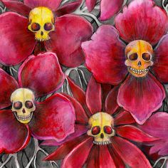 mexican day of the dead inspired art by melanie dann Skulls at the bottom of my garden. prints for halloween