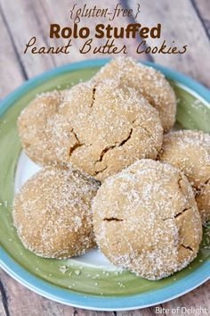 these gluten-free rolo stuffed peanut butter cookies are the best! They are super simple and the yummiest peanut butter cookies ever! Bite of Delight