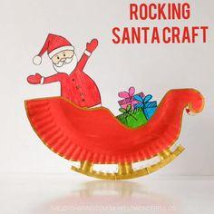 Christmas crafts for kids - Rocking Santa Claus Sleigh Paper Plate Craft – Christmas crafts for kids Christmas Crafts For Kids To Make, Fun Arts And Crafts, Fun Crafts For Kids, Toddler Crafts, Kids Christmas, Diy For Kids, Holiday Crafts, Toddler Toys, Craft Kids