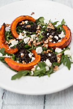 Salad with beluga lentils, grilled pumpkin, feta and orange dressing // feed me up before you go-go