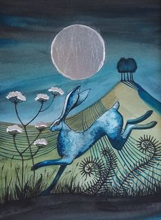 The Silver Moon - hare - Easter gift- moon gazing hare - original artwork Moon Painting, Painting & Drawing, Moon Drawing, Art And Illustration, Hare Pictures, Hare Images, Moon Images, Rabbit Art, Jack Rabbit