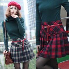 JP Fall Winter Scottish Tartan Plaid Skirt England College Wind Pleated Skirts