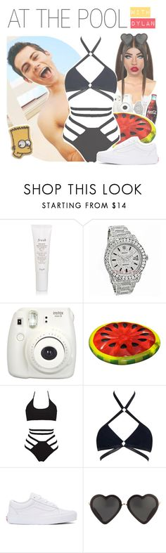 """♛ at the pool with dylan"" by fangirlsets ❤ liked on Polyvore featuring Fresh, Rolex, Fujifilm, Agent Provocateur, Vans and Markus Lupfer"