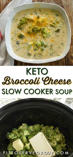 This Keto broccoli cheese slow cooker soup makes a hearty low in carbs soup. It is thickened only with cheese which makes it a great keto-friendly option. #keto #ketobroccolicheesesoup #ketobroccolicheeseslowcookersoup #lowcarbbroccolicheesesoup #lowcarbsoup #ketosoup #slowcooker #ketoslowcookersoup #lowcarbslowcookersoup