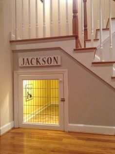 Great use of under stairs storage... built-in dog crate! #DogCrates