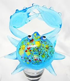 Add this hand blown glass Wine Stopper to your collection, spotted Blue Crab Cork. $29.99