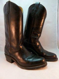 Men's Double H Black Leather Western Cowboy Boots Steel Toe 4620 Size 8 1/2 D #DoubleHBoots #CowboyWestern