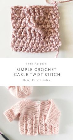 Crochet Tutorial Ideas Free Pattern - Simple Crochet Cable Twist Stitch - This is a very basic cable twist and perfect for beginners to learn and practice, I use this stitch in my baby cable twist sweaters. Simple Crochet, Crochet Bebe, Baby Girl Crochet, Crochet For Kids, Crochet Baby Blanket Beginner, Crochet Baby Sweaters, Crochet Baby Cardigan, Crochet Stitches Patterns, Sweater Knitting Patterns
