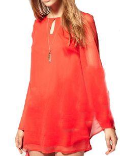 Orange Round Neck Long Sleeve Chiffon Dress