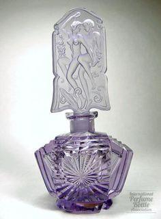 Czech purple perfume bottle.  Adam & Eve Stopper, 1920-38