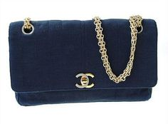 Navy Blue Vintage Chanel 255 Classic Flap Bag by gailparker4, $1150.00