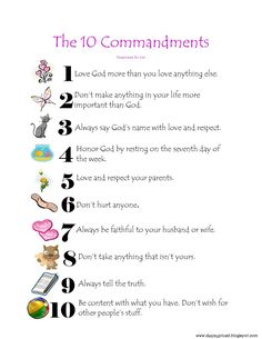 10 commandments for kids | After surfing the web for fun 10 Commandments items to share I have ...